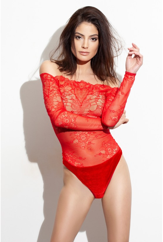 Body COEURT dentelle rouge Cadolle