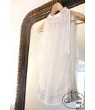OLIVIA ivory pleated chiffon top - Cadolle