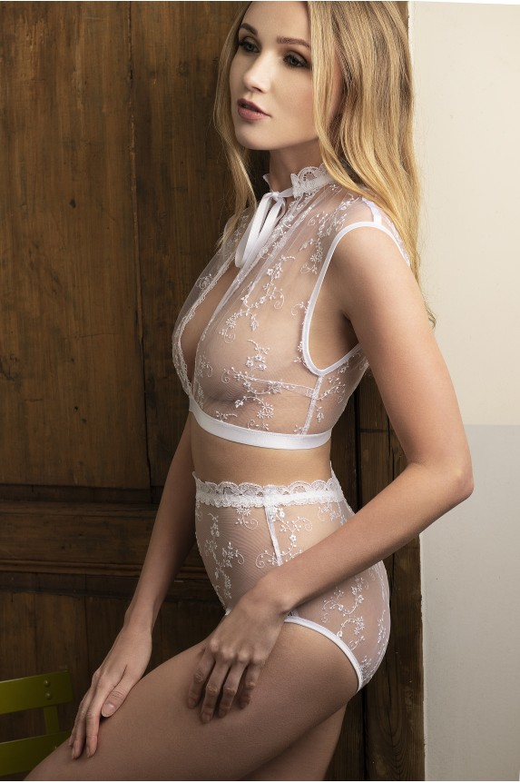 White embroidered crop top - Cadolle