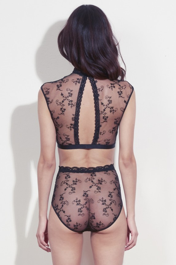 Black embroidered crop top - Cadolle