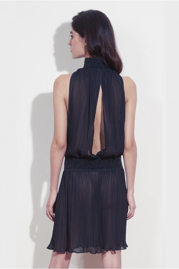 ANGELA dress in pleated chiffon black
