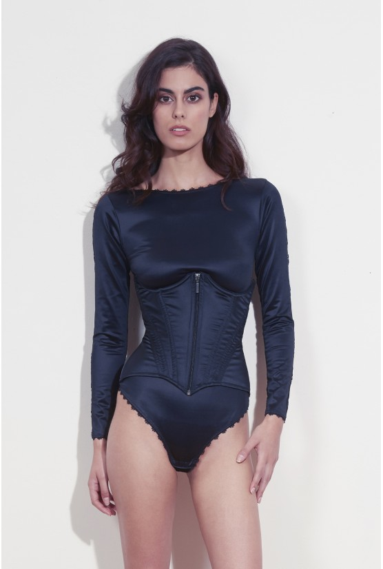 Waist cincher black satin zip