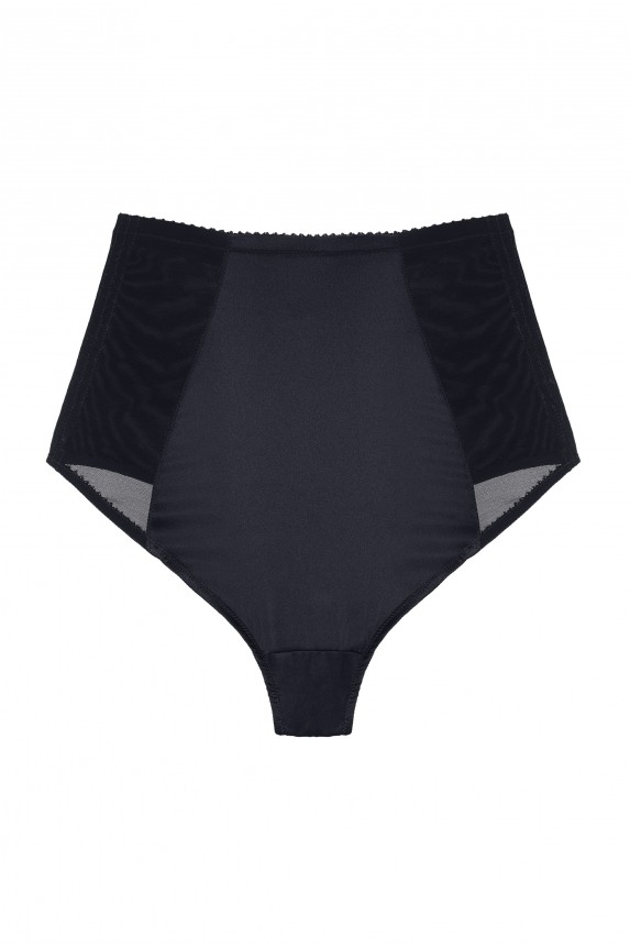 GINA black leather high waist panties - Cadolle