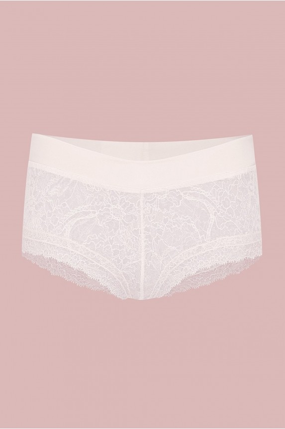 Shorty satin/dentelle blanc