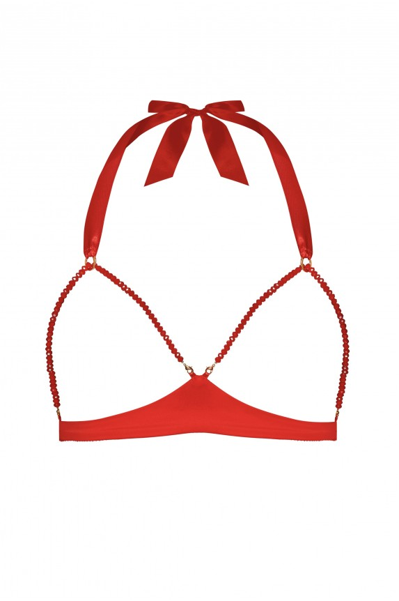 GEISHA RED GLASS PEARL BRA
