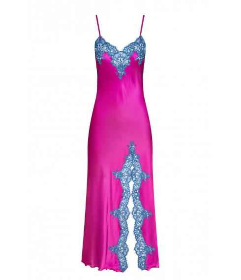 Bright pink silk long nightdress
