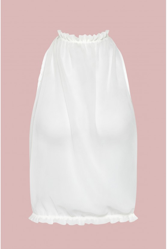 Backless chiffon top white