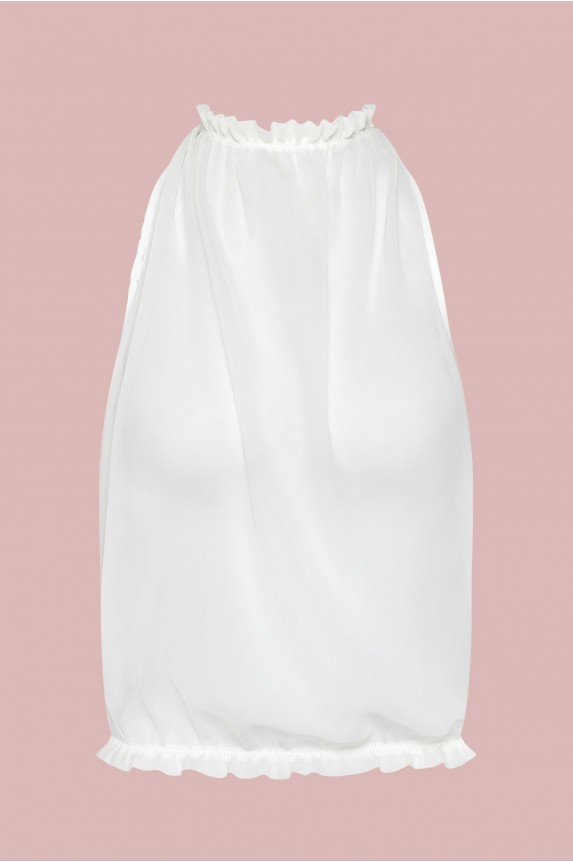 Backless top white chiffon Cadolle