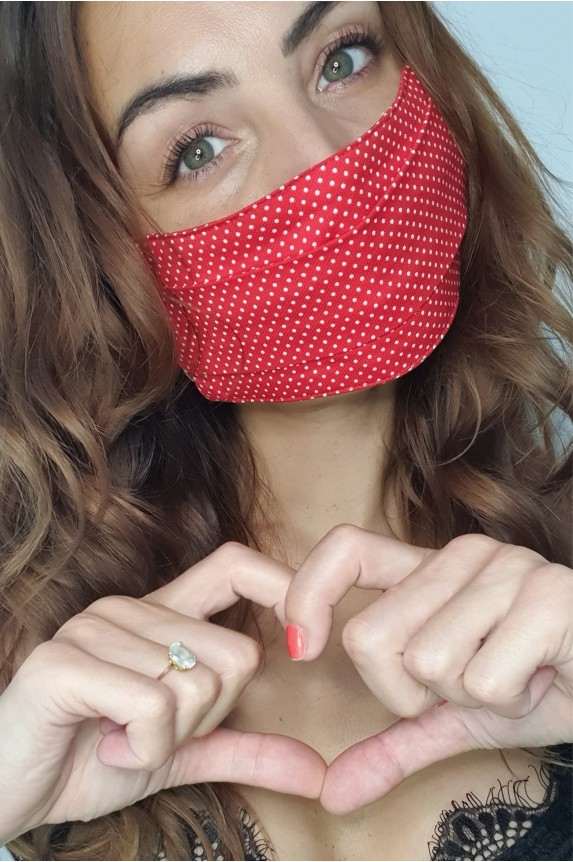 Red cotton mask mini polka dots