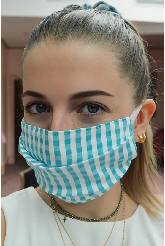 blue vichy print Facemask