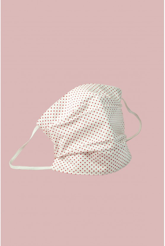 White cotton mask with mini polka dots