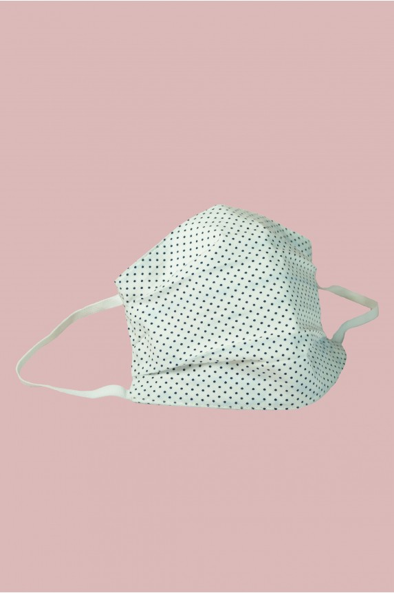 White cotton mask with black mini polka dots