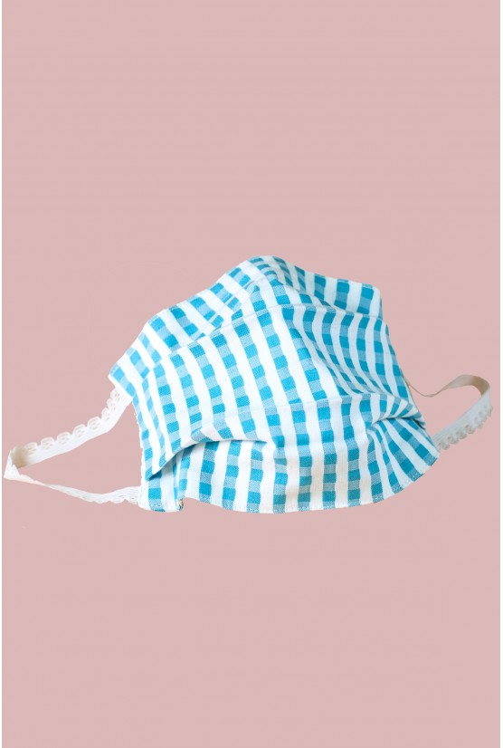 Blue gingham print facemask - Cadolle