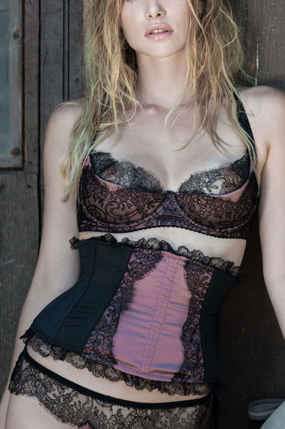 Bra RAMA purple silk Cadolle