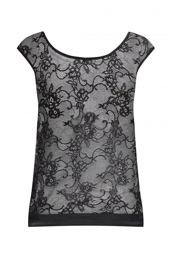 Tank top black lace Cadolle