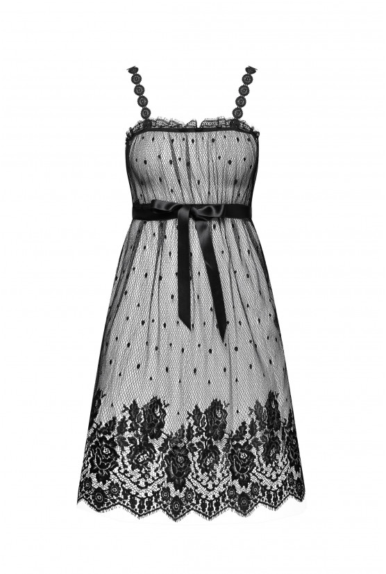 Black spotted lace mini dress Cadolle
