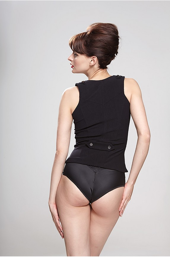 High waist panties RACHEL black satin