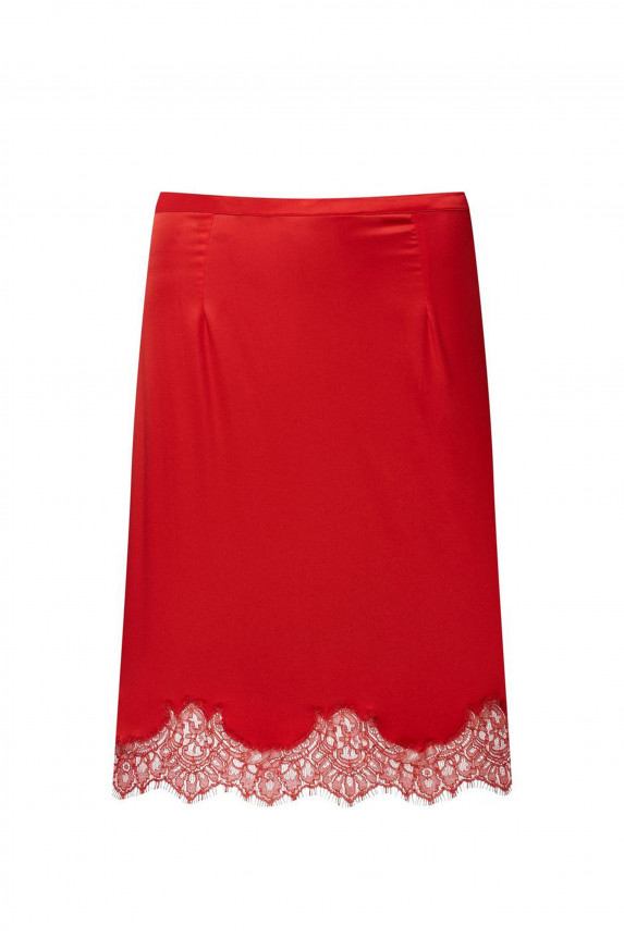 Red satin skirt LOUISE