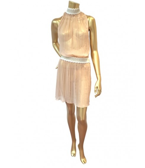 ANGELA dress in pleated chiffon peach