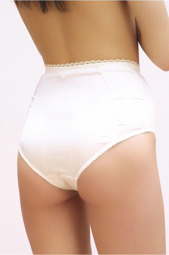 High panties GINA ivory satin Cadolle