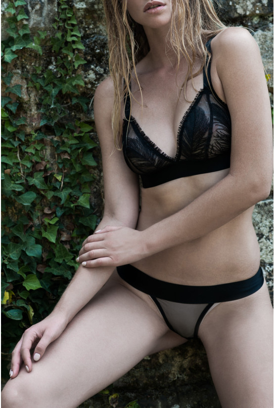 Panties FEATHER black tulle Cadolle