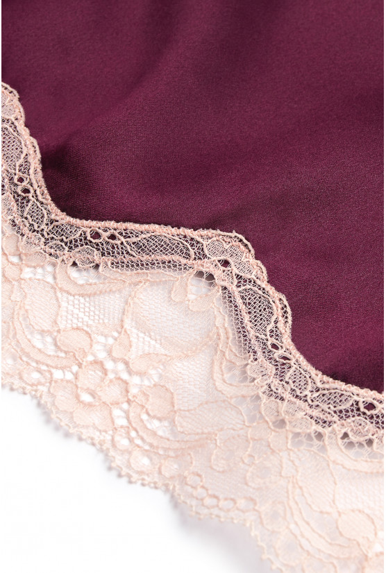 Burgundy silk camisole and shorts - Cadolle