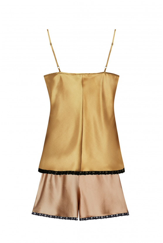 Camisole and shorts camel silk