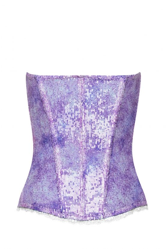 Bustier KELLY sequins violets - Cadolle