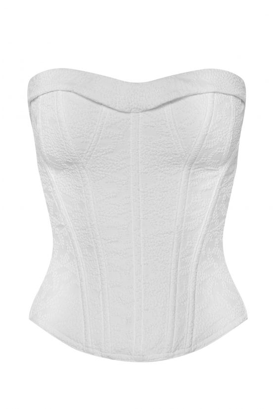 Bustier VICTORIA 5 white embossed - Cadolle