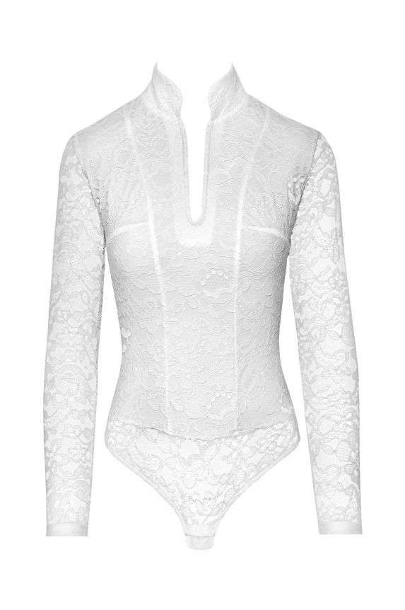 OFFICER ivory lace bodysuit - Cadolle