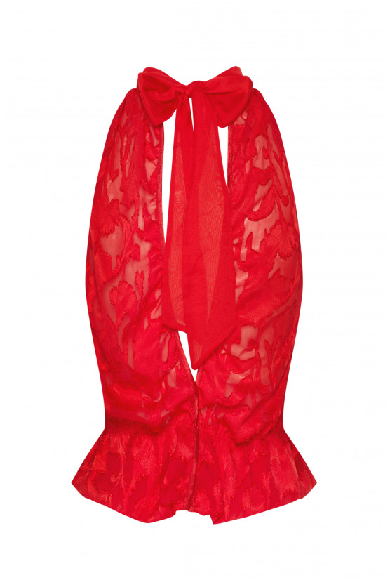 OLIVIA red chiffon top - Cadolle
