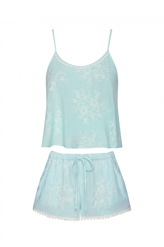 Aqua embroidery crop top and shorts - Cadolle