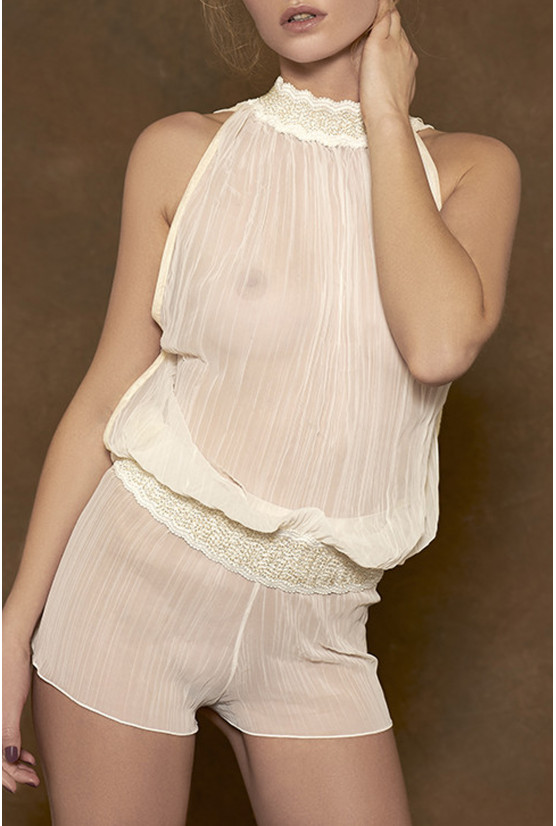 Top OLIVIA ivory pleated chiffon Cadolle