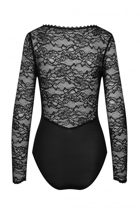 Embroidered black lace bodysuit - Cadolle