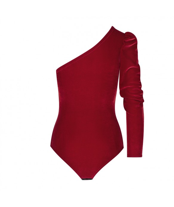 Body asymétrique velours rouge
